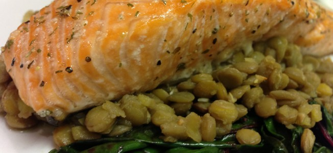 salmon lentils